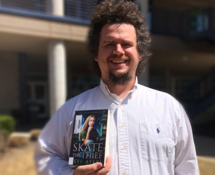 "Jeff Ayers, English teacher, published his first novel, ""Skate The Thief,"" in June of last year. Students may visit the RHS library to check it out."